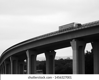 Chomutov, Czech republic - July 17, 2019: moving camion on bridge of highway D7 leading to Germany