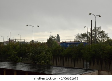 Chomutov, Czech republic - May 20, 2019: blue camion in rainy day