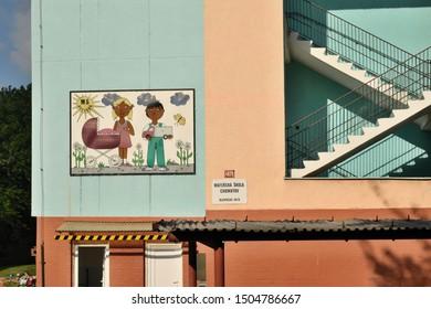 Chomutov, Czech republic - September 13, 2019: kindergarten building in blatenska street leading to Ore mountains