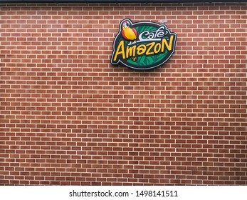 Chon Buri, Thailand - 9 September 2019: Cafe Cafe Amazon logo on the wall.