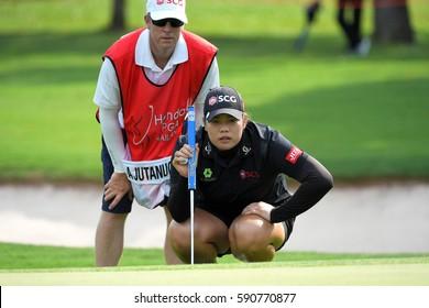CHON BURI, THAILAND - FEBRUARY 23: Ariya Jutanugarn of Thailand in action during the Honda LPGA Thailand 2017 at Siam Country Club on February 23, 2017 in Chon Buri, Thailand