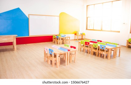 CHON BURI, THAILAND - JULY 14, 2019: Desks, chairs and white board in the kindergarten classroom.
