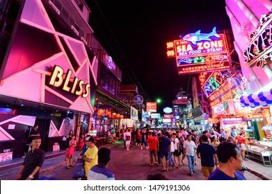 Chon Buri, Thailand - July 27, 2019 : Unidentified tourist walk through the walking street in Pattaya