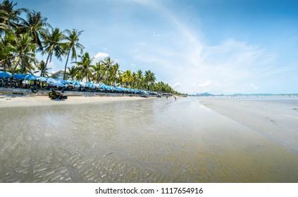 CHON BURI, THAILAND - JUNE 17, 2018 : Bangsaen Beach, Chonburi province, Thailand