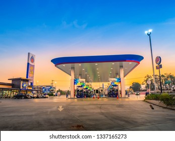 Chonburi, 7 March 2019: PTT gas station in Chonburi Satthahip district, Chonburi province, Thailand. PTT is largest oil company in Thailand