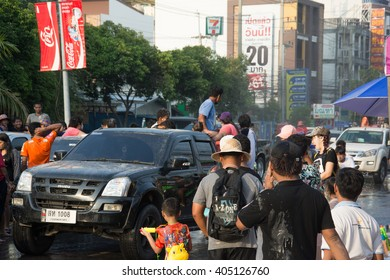 Chonburi April 13:Songkran Festival at  Bangsaen Road, Chonburi, is another beat place to celebrate Thai tradition New Year for thais and foreigners on  Bangsaen Bangkok April 13,2016 in Thailand