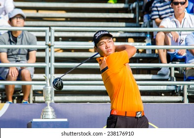 CHONBURI - DECEMBER 13 : Hu Mu of China player in Thailand Golf Championship 2014 (Tournament on the Asian Tour) at Amata Spring Country Club on December 13, 2014 in Chonburi, Thailand.