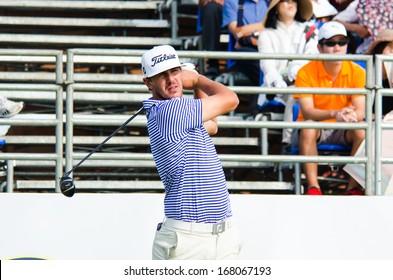 CHONBURI - DECEMBER 14 : Brooks Koepka of USA player in Thailand Golf Championship 2013 at Amata Spring Country Club on December 14, 2013 in Chonburi, Thailand.