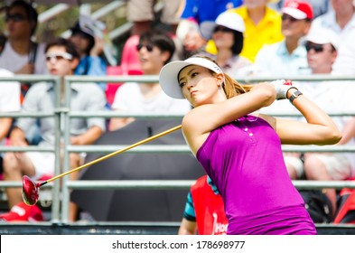CHONBURI - FEBRUARY 22: Michelle Wie golfer from USA in Honda LPGA Thailand 2014 at Siam Country Club, Pattaya Old Course on February 22, 2014 in Chonburi, Thailand.