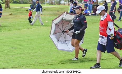 CHONBURI - FEBRUARY 23-26 : Ariya Jutanugarn of Thailand in Honda LPGA Thailand 2017 at Siam Country Club, Pattaya Old Course on February 23-26, 2017 in Chonburi, Thailand.