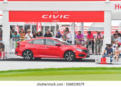 CHONBURI - FEBRUARY 24 : Honda New Civic Red car on course in Honda LPGA Thailand 2018 at Siam Country Club, Old Course on February 24, 2018 in Pattaya Chonburi, Thailand.
