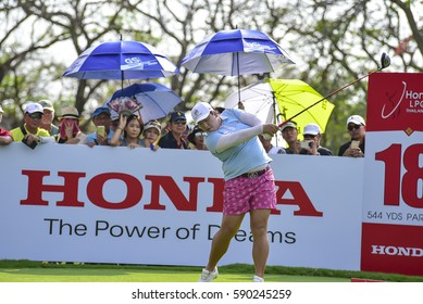 CHONBURI - FEBRUARY 26 : Shanshan Feng of China in Honda LPGA Thailand 2017 at Siam Country Club, Pattaya Old Course on February 26, 2017 in Chonburi, Thailand.