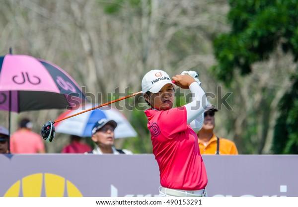 CHONBURI - FEBRUARY 28 : Haru Nomura of Japan in Honda LPGA Thailand 2016 at Siam Country Club, Pattaya Old Course on February 28, 2016 in Chonburi, Thailand.
