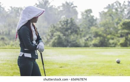 Chonburi Golf Course Thailand - 26 November 2017 Beautiful Thai Caddy girl
