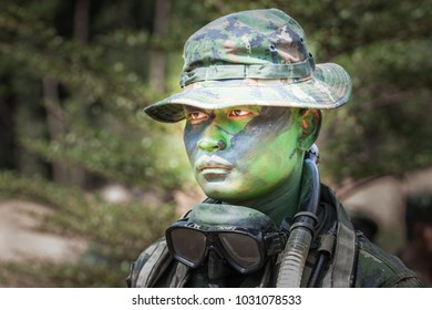 Chonburi - January 30, 2018: Thai royal army soldier maneuver January 30, 2018 in Sattahip , Chonburi, THAILAND.