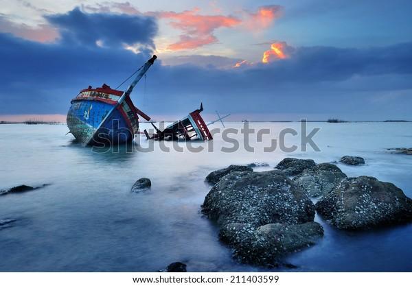 CHONBURI- JUNE 20 : Shipwreck on June 20, 2014 in Ang Sila, Chonburi, Thailand.