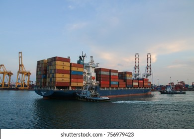 CHONBURI, THAILAN - OCTOBER 25, 2017: Photo of Cargo ship parked at Laemchabang port, Containers for exporting goods  overseas.