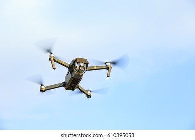 CHONBURI, THAILAND - 10 MARCH 2017 - Unmanned aerial vehical with video camera hovers in the air. This is DJI Mavic Pro model.