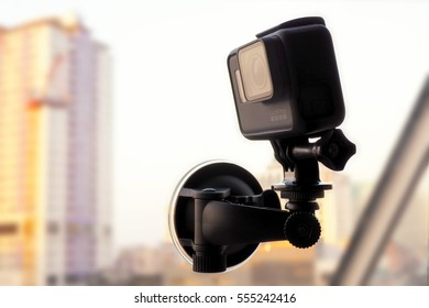 Chonburi, Thailand - 13 January 2017: GoPro Hero 5 set of intense action and shooting videos. Embrace mirrors mounted devices