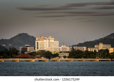 CHONBURI, THAILAND - 22 DEC : Sriracha cityscape at sea on 22 December 2017 in Sriracha, Chonburi, Thailand