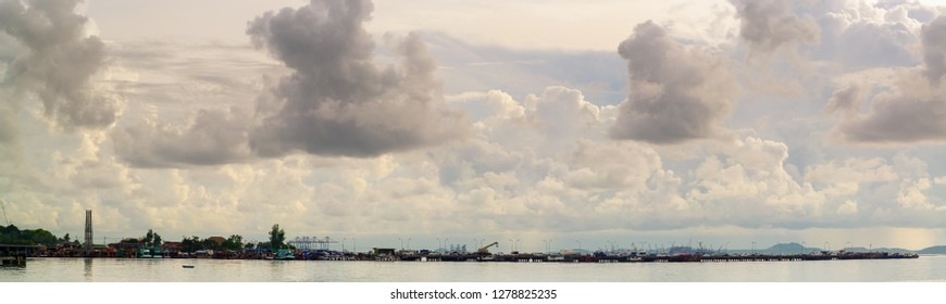 CHONBURI, THAILAND - 26 MAY :  Panoramic view of Sriracha fishery pier on 26 MAY 2018 in Sriracha, Chonburi, Thailand