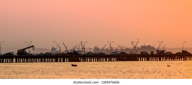 CHONBURI, THAILAND - 27 FEB :  Panoramic view of Sriracha fishery jetty  on 27 February 2018 in Sriracha, Chonburi, Thailand