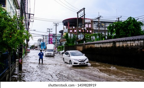 CHONBURI, THAILAND - 7 JUNE : Flooding after rain at Sriracha city on 7 June 2019, Sriracha, Chonburi Thailand