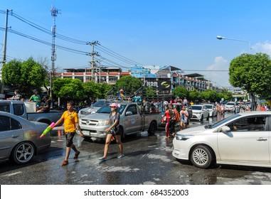 CHONBURI, THAILAND -  APRIL 14 : People play water in water festival day (Song Kran day) on 14 April 2017 in Bangsaen, Chonburi, Thailand