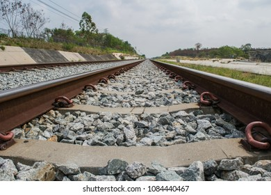 Chonburi, Thailand - April 6, 2018 : A picture of railway which construct for a long time for transportation that use for shipping or travel, located near Grand Canyon where is the tourist attraction