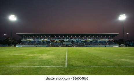 CHONBURI THAILAND- APRIL 6:Chonburi Stadium in Thai Premier League (TPL) between Chonburi Fc(blue) vs Chiangrai United(orange) on April 6, 2014  at Chonburi Stadium in Chonburi Thailand