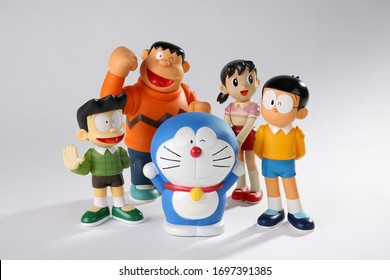 CHONBURI, THAILAND, APRIL 8, 2020 : Soft focus on Cartoon model (Doraemon and friends) on white background, Doraemon is an all time famous TV cartoon