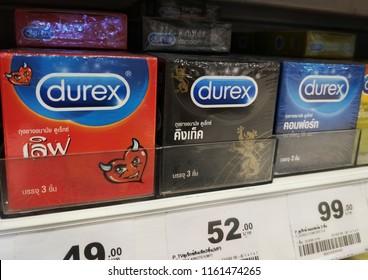 Chonburi THAILAND Aug 19,2018:Durex condom Placed on a shelf in a supermarket.