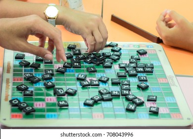 CHONBURI, THAILAND - AUGUST 28, 2017: Student playing scrabble cross word in school.