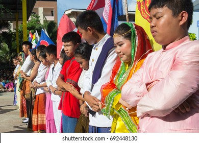 Chonburi, THAILAND, August 8,2017: Students dress up with National ASEAN costume and shaking hands together for ASEAN Day in Chonburi high school on August 8,2017