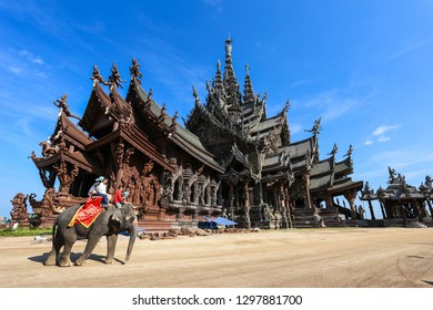 Chonburi, Thailand - Dec 28, 2014 - Sanctuary of Truth is a wooden construction according to ancient Thai ingenuity and every square inch of the building is covered with wooden carve sculpture