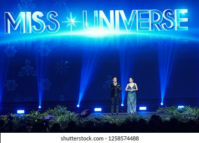 """Chonburi, Thailand - December 10, 2018 ; MC speakers show on Stage for """"National Costume"""" Round of """"Miss Universe 2018"""" at Nong Nooch Garden, Pattaya"""