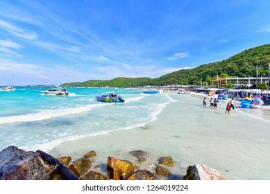 Chonburi, Thailand - December 15, 2018: Tawaen Beach on a Sunny Day on Koh Larn in Pattaya