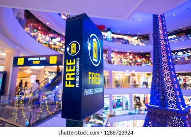 CHONBURI, THAILAND - DECEMBER 15, 2018: Free mobile charging station in Terminal 21 Pattaya (shopping mall).