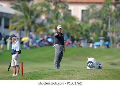CHONBURI, THAILAND - DECEMBER 15: Lee Westwood of England plays a shot during day one of the Thailand Golf Championship at Amata Spring Country Club on December 15, 2011 in Chonburi, Thailand.