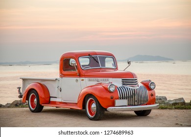 CHONBURI, THAILAND - December 18, 2018: The 1941 Chevrolet Truck parking at the seaside on street.