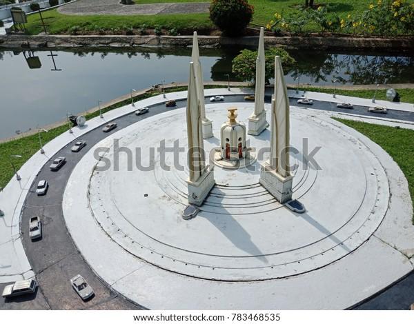 CHONBURI, THAILAND - DECEMBER 29, 2017: Miniature Simulation Thai Democracy Monument at Mini Siam