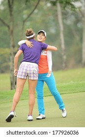 Chonburi, Thailand - FEB 20:Meena Lee of South Korea in action during Honda LPGA Thailand 2014 at Siam Country Club Pattaya Old Course on February 20, 2014 in Chonburi, Thailand.