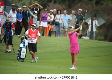 CHONBURI, THAILAND - FEB 22, 2014: Anna Nordqvist of Sweden in action during Honda LPGA Thailand 2014 at Siam Country Club Pattaya Old Course