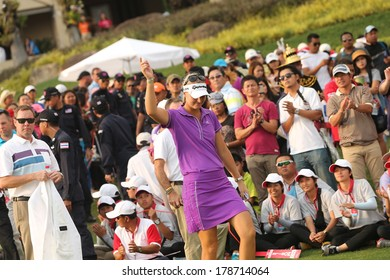 Chonburi, Thailand - FEB 23:Anna Nordqvist of Sweden in action during Honda LPGA Thailand 2014 at Siam Country Club Pattaya Old Course on February 23, 2014 in Chonburi, Thailand.