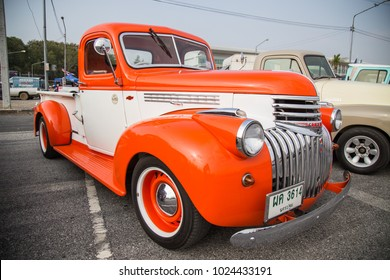 CHONBURI, THAILAND - FEBRUARY 10, 2018: The 1941 Chevrolet Pickup Truck  parking at the car park.