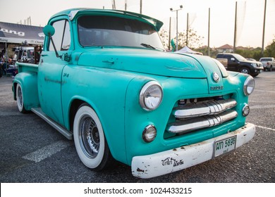 CHONBURI, THAILAND - FEBRUARY 10, 2018: The 1956 DODGE Pickup Truck  parking at the car park.