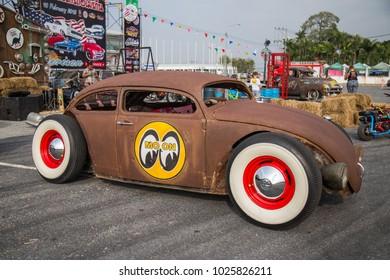 CHONBURI, THAILAND - FEBRUARY 10, 2018: The 1959 VW HOTROD  parking at the car park.