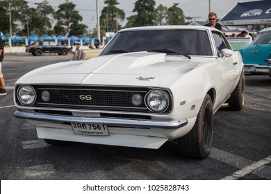 CHONBURI, THAILAND - FEBRUARY 10, 2018: The 1968 CHEVROLET Camaro 327  parking at the car park.
