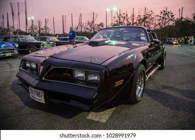 CHONBURI, THAILAND - FEBRUARY 10, 2018: The 1977 Pontiac Firebird parking at the car park.