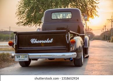 CHONBURI, THAILAND - February 12, 2019: The 1954 Chevrolet COE Truck parking on street.